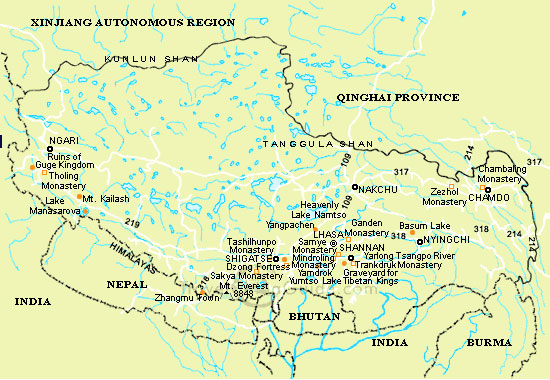 Map Of Tibet Location Of Tibet In World Map Where Is Tibet On